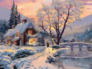 Волшебная зима в картинах Thomas Kinkade. Ярмарка Мастеров - ручная работа, handmade.