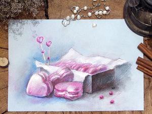 Как нарисовать пастелью макаронс в форме сердца на День святого Валентина. Ярмарка Мастеров - ручная работа, handmade.