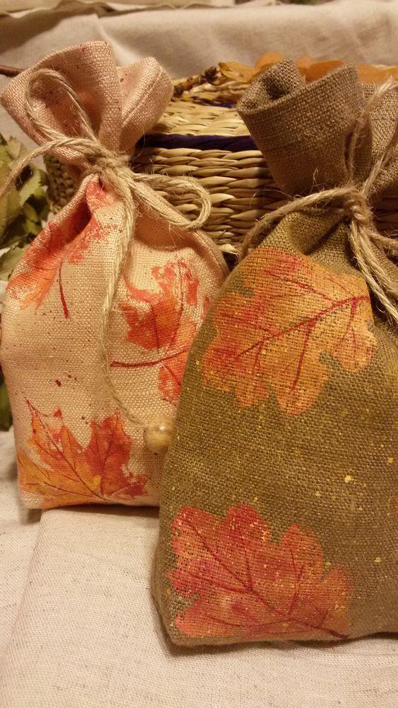 мешочек для хранения, мешочек из льна, упаковка для мыла, роспись по ткани, листопад, ручная роспись