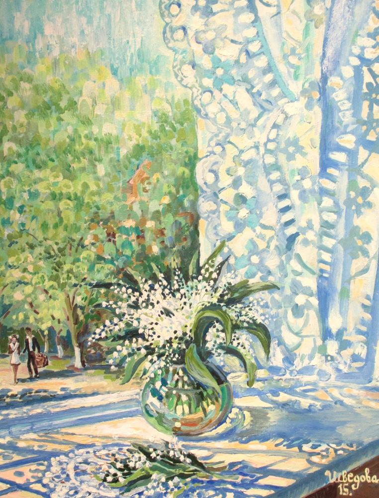 картина с цветами, живопись маслом, картина для настроения, солнечный день