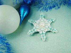 Делаем сутажную брошь-снежинку «Морозная мята». Ярмарка Мастеров - ручная работа, handmade.