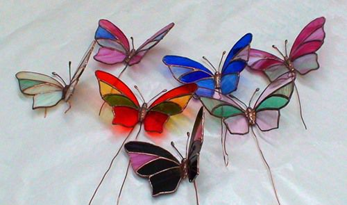 Витражная бабочка в технике
