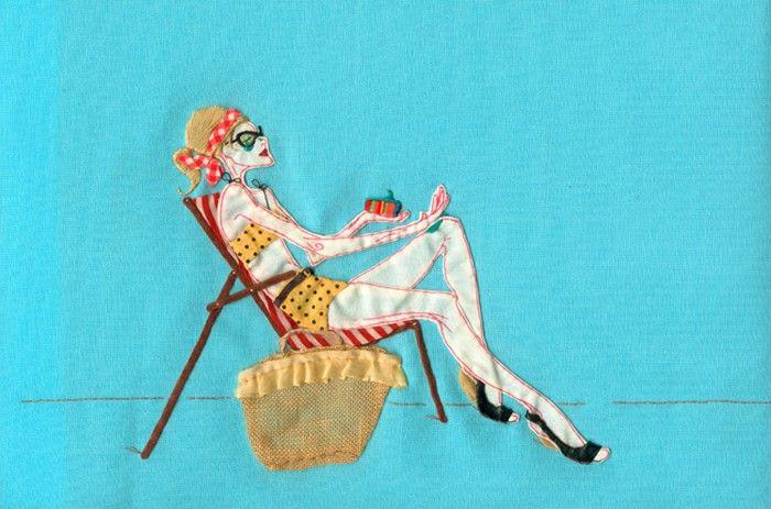 Модные картины от Paula Sanz Caballero: ироничные сюжеты, сшитые из образцов ткани
