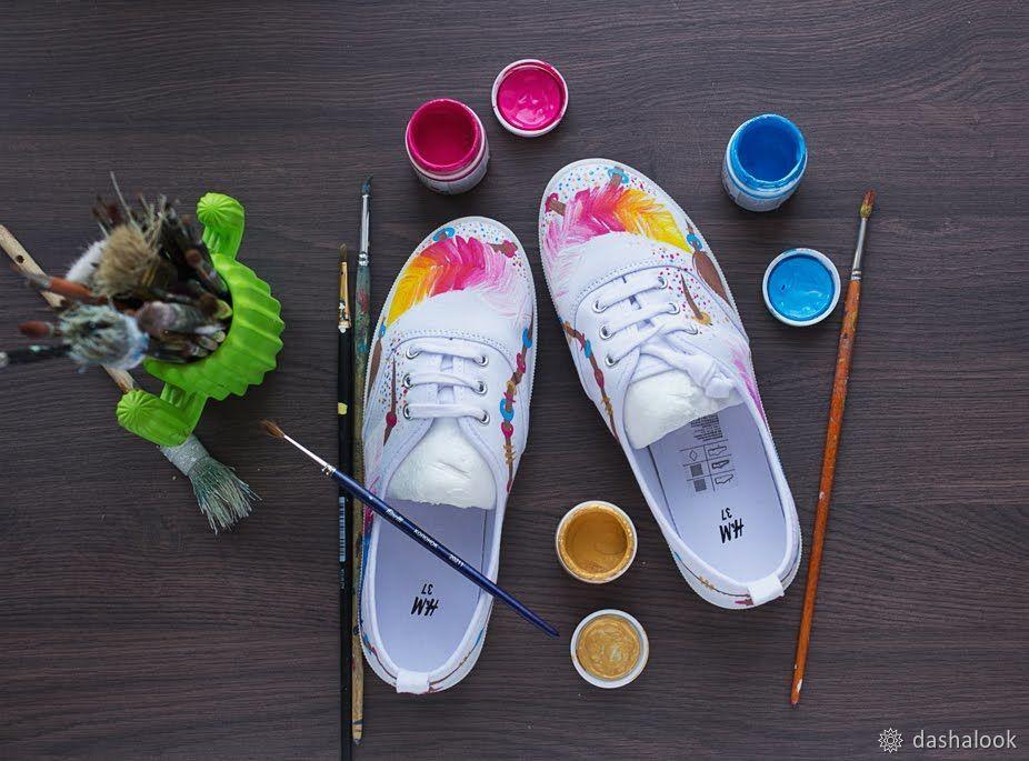 Изучаем тонкости росписи кед акриловыми красками по ткани, фото № 5