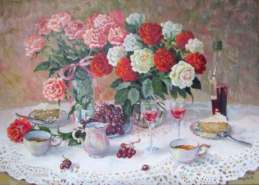 картина с цветами, виноград, красный цвет, картина в интерьере