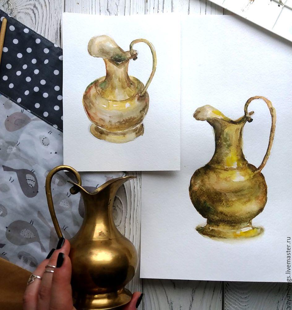 рисунок, творчество, скетч, акварель, латунь