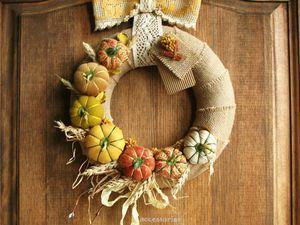 Осенний декор интерьера. Создаем венок с текстильными тыквами