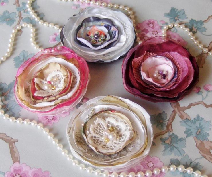 Розы из ткани шебби шик мастер класс