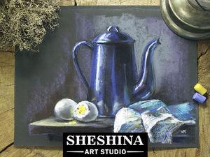 Видеоурок: рисуем натюрморт с синим кувшином. Ярмарка Мастеров - ручная работа, handmade.