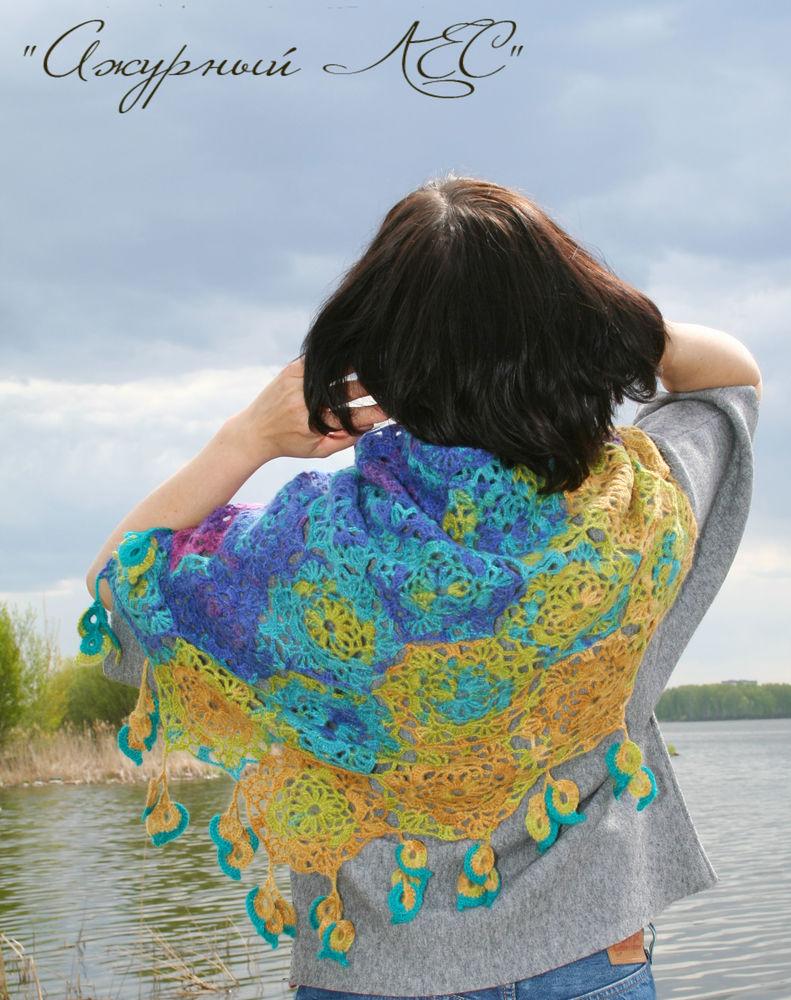 радужный шарф, подарок женщине