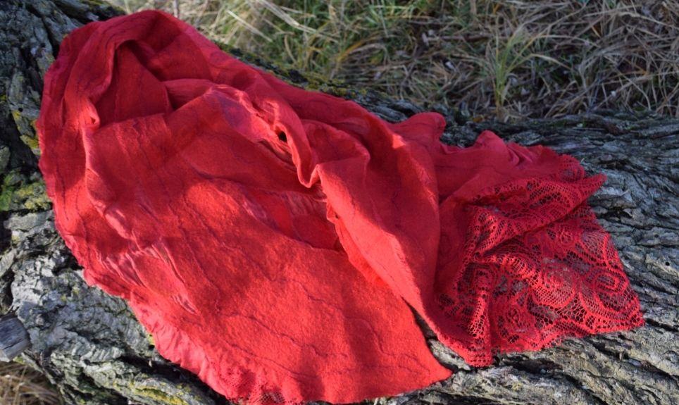 шелковый шарф, красный