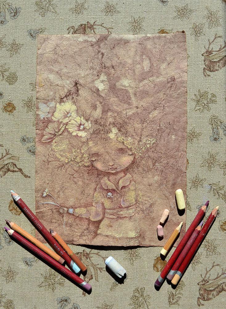 рабочий процесс, рисование пастелью, пастель