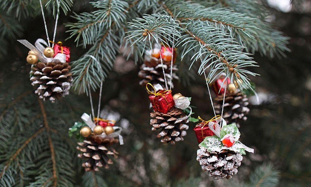 Шишки новогоднее украшение своими руками