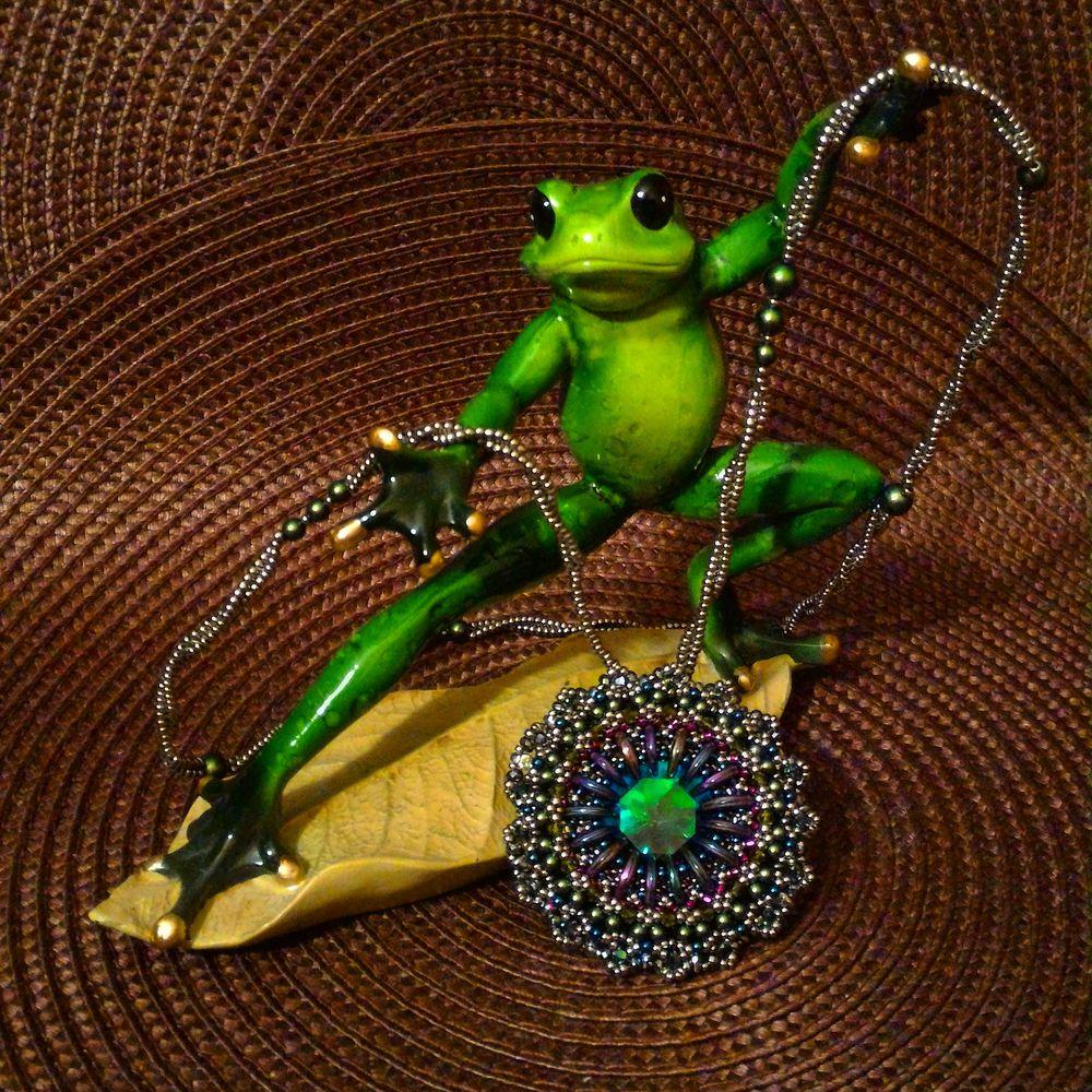 обучение, кулон, бисероплетение, японский бисер, сваровски, украшения ручной работы, ирина руднева