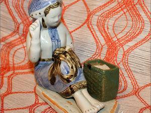 Вышивальщица. Спичичница. Довоенная Гжель. Фарфоровая статуэтка. Ярмарка Мастеров - ручная работа, handmade.