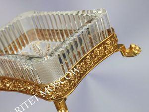 Ваза подставка лев латунь хрусталь золото Германия 23. Ярмарка Мастеров - ручная работа, handmade.
