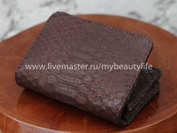 Аукцион с нуля на визитницу из кожи питона | Ярмарка Мастеров - ручная работа, handmade