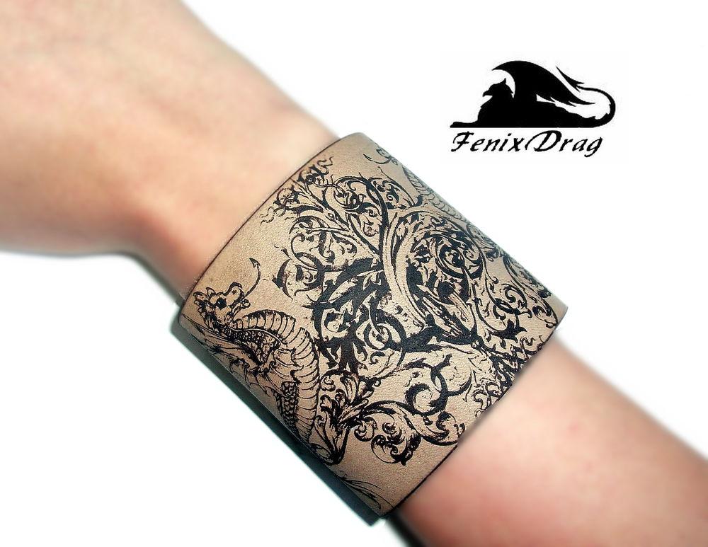натуральная кожа, кожаный, кожаный браслет, браслет с узором, гравировка, модный браслет, стильный браслет
