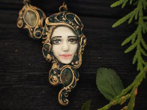 Новинка!!!! Серьги из полимерной глины «Зеленая фея»   Ярмарка Мастеров - ручная работа, handmade
