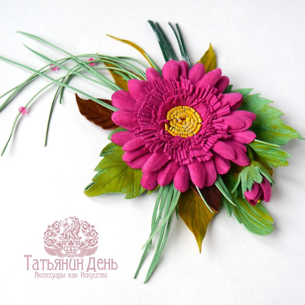 цветы из кожи, мастер-класс брошь, обучение работе с кожей, украшение с цветами, мк ромашка из кожи, цветок из кожи, гербера из кожи