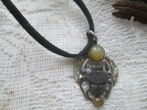 Аукцион с нуля на медно-серебренного кулона Священного скарабея. Ярмарка Мастеров - ручная работа, handmade.
