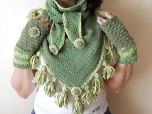 Зеленый шарф бактус с кисточками и митенки. Ярмарка Мастеров - ручная работа, handmade.