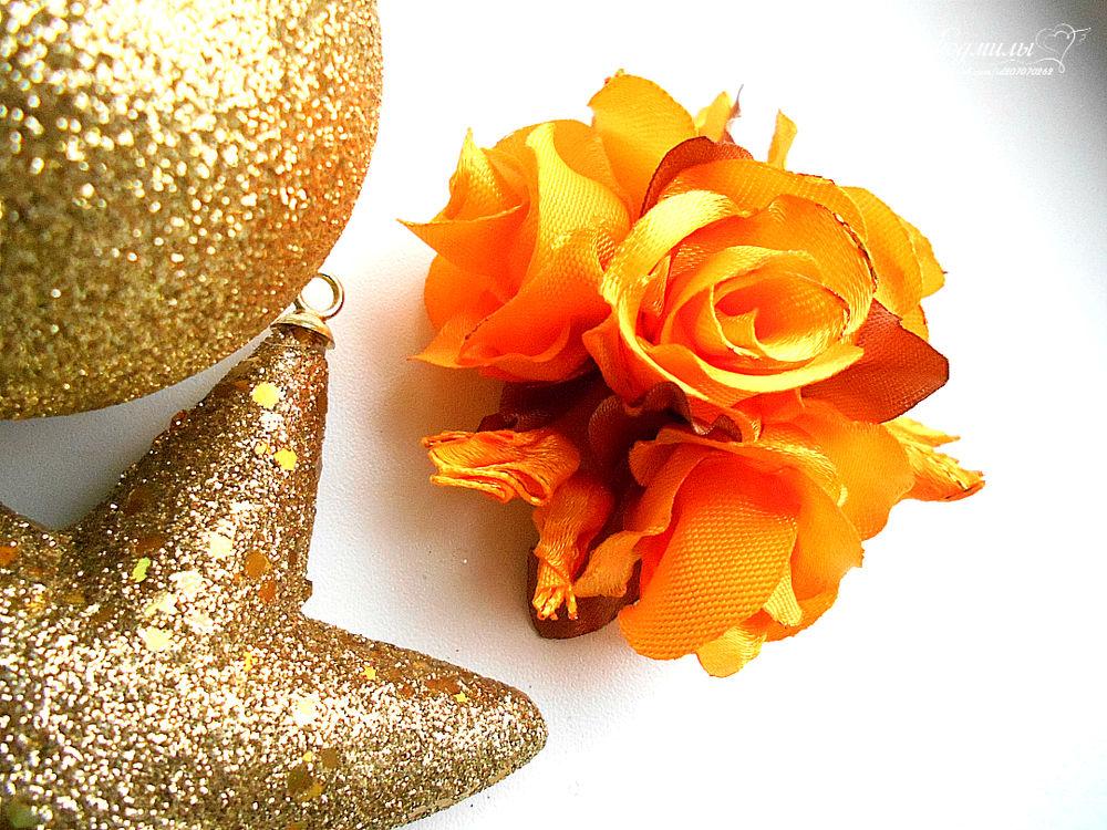 брошь-цветок, брошь букет, украшение на одежду, аксессуары с цветами, букетик из роз, для нового года, от людмилы