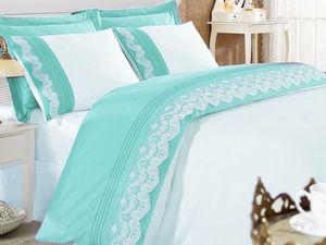 Двухцветное постельное белье с кружевом.. Ярмарка Мастеров - ручная работа, handmade.