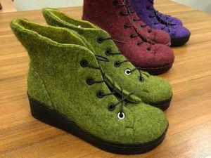 Фотоотчет с МК Светланы Моргуновой по валянию ботинок с язычком на 3Dшаблоне с установкой на подошву. Ярмарка Мастеров - ручная работа, handmade.