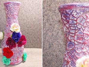Делаем яркую вазу из бутылки: видео мастер-класс. Ярмарка Мастеров - ручная работа, handmade.