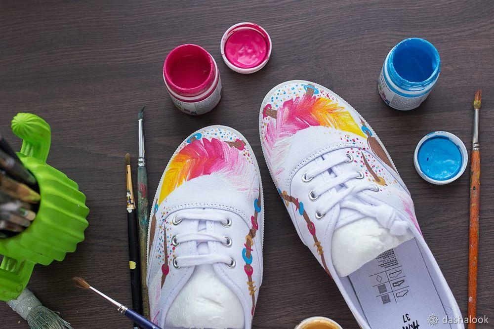 Изучаем тонкости росписи кед акриловыми красками по ткани, фото № 7