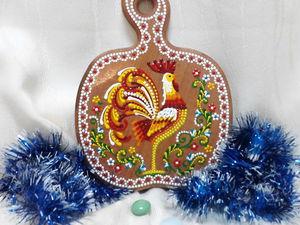 Декоративная разделочная доска «Петушок» в технике точечной росписи. Ярмарка Мастеров - ручная работа, handmade.