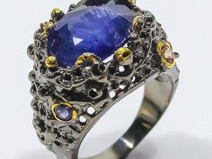 Роскошное авторское кольцо с крупным натуральным сапфиром. Ярмарка Мастеров - ручная работа, handmade.
