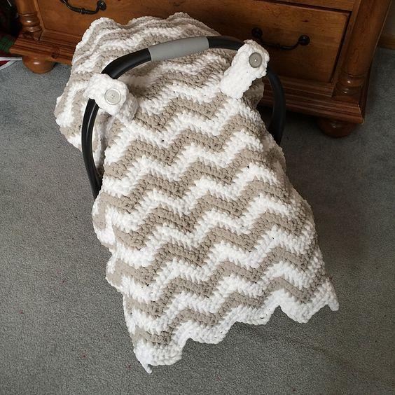 Ravelry: Chunky Chevron Car Seat Canopy Cover pattern by Crochet by Jennifer: