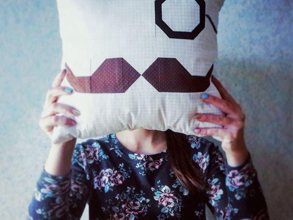 Шьем лоскутную подушку с моноклем и усами! Часть 1 | Ярмарка Мастеров - ручная работа, handmade