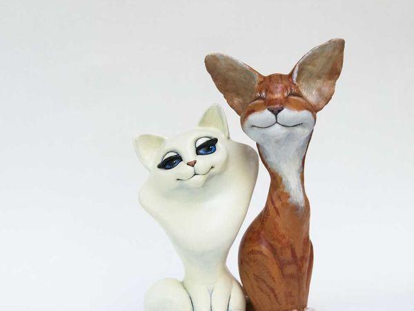 Вот забавная история про моих котов (фигурки из папье-маше) | Ярмарка Мастеров - ручная работа, handmade