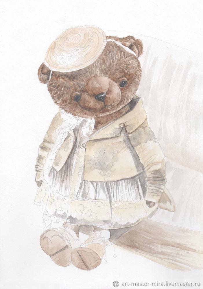 Как нарисовать мишку Тедди акварелью, фото № 6