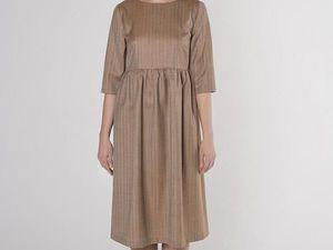 Платье с завышенной талией YOKU из карамельного костюмного шёлка. Ярмарка Мастеров - ручная работа, handmade.