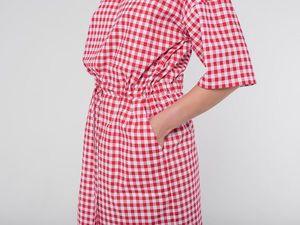 YOKU в деталях: платье с кулиской из поплина в красно-белую клетку. Ярмарка Мастеров - ручная работа, handmade.