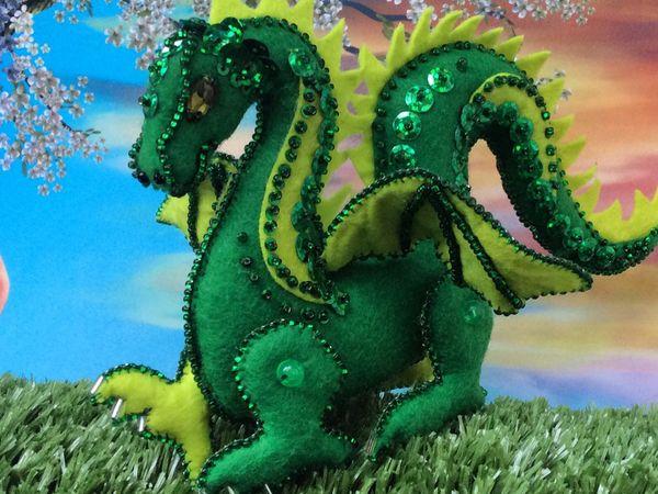 Драконы из фетра и бисера | Ярмарка Мастеров - ручная работа, handmade