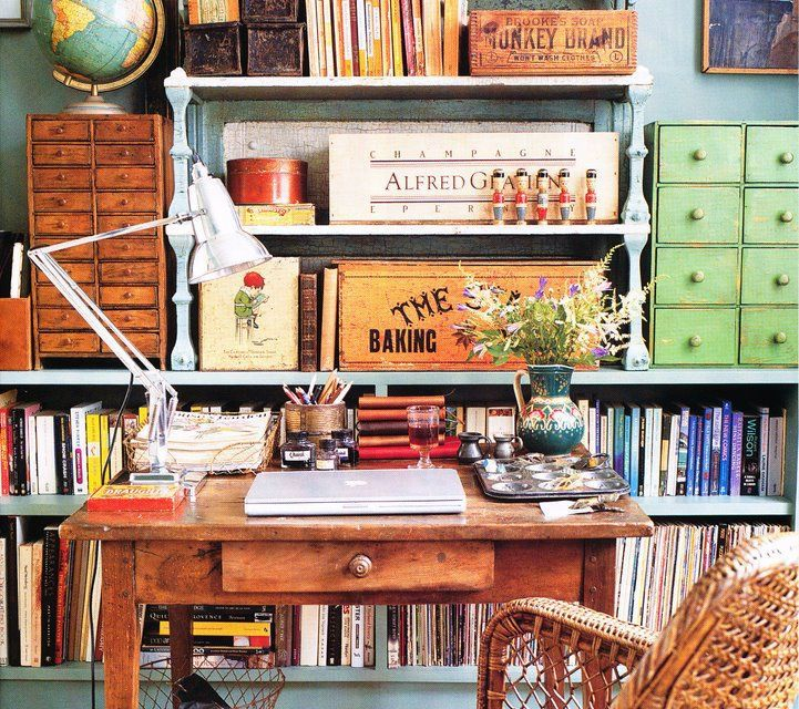Love the vintage style of this crafting work space studio