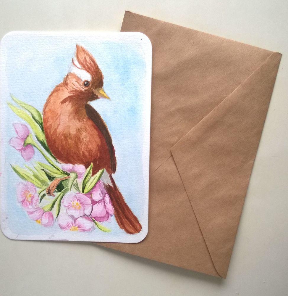 открытка, анонс, подарок девушке, вишня, цветущая вишня, акварельные открытки, открытки ручной работы, комплимент, птицы