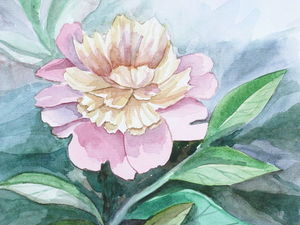 Painting a Picturesque Peony Stil Life in the Watercolour Technique. Livemaster - handmade