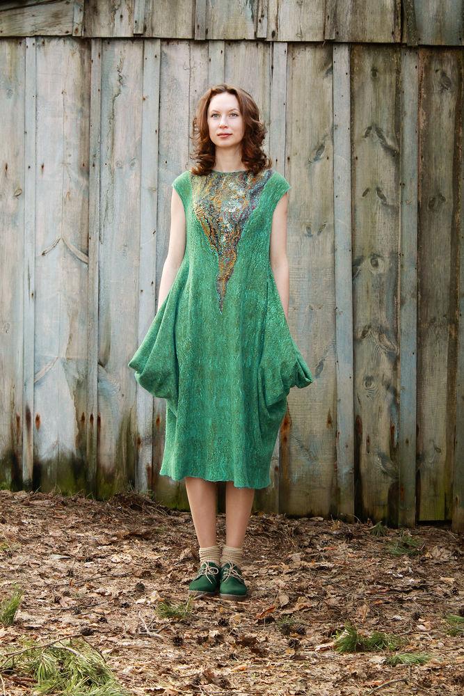 платье-трансформер, платье из войлока, валяние из шерсти
