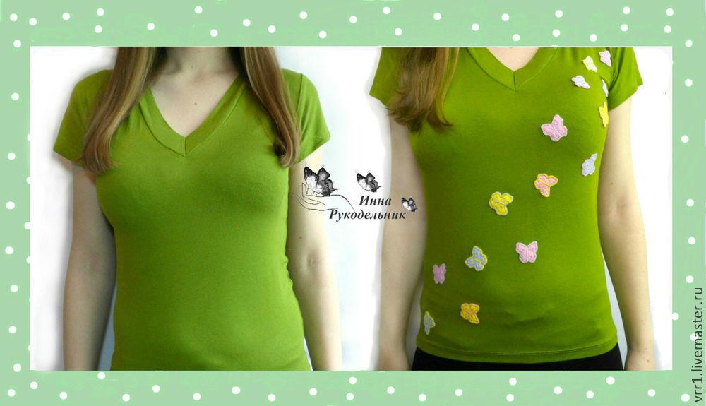 бабочки на футболке, переделка одежды, процесс работы