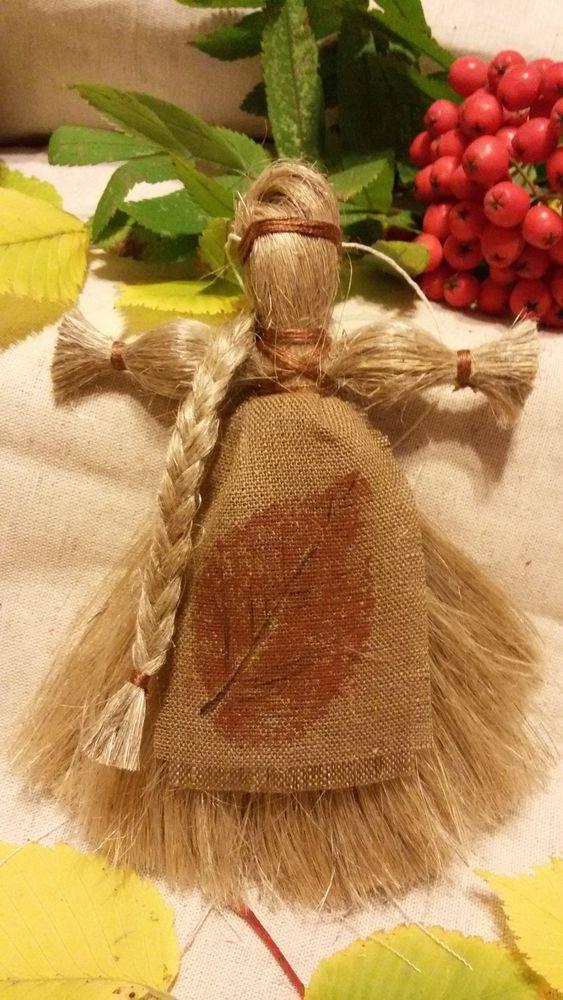 кукла льняница, отпечатки листьев, листопад, русский стиль