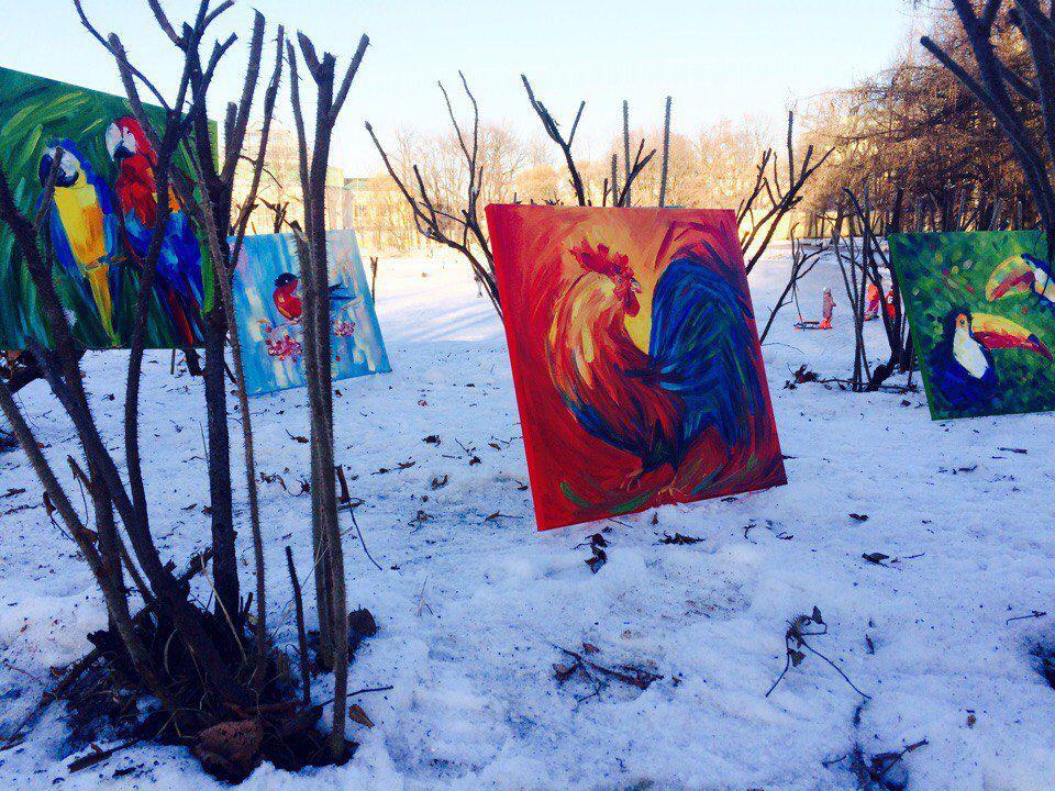 парк, фламинго, яркие картины, живопись