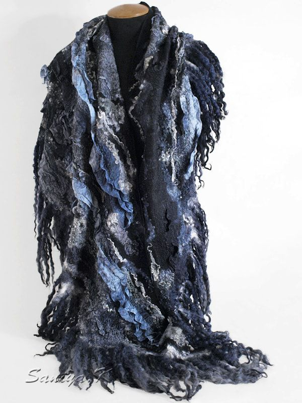 черно серая шаль
