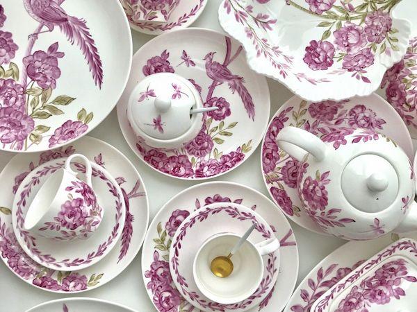 Сервиз столово - чайный Розовый шинуазри   Ярмарка Мастеров - ручная работа, handmade