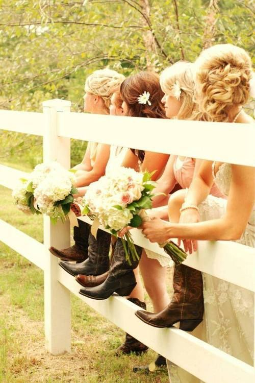 this is a lovely picture! if i was having a country wedding i would do this photo. but I think the princess girl in me trumps the country girl in me. so, my girls will wear heels, lol!: